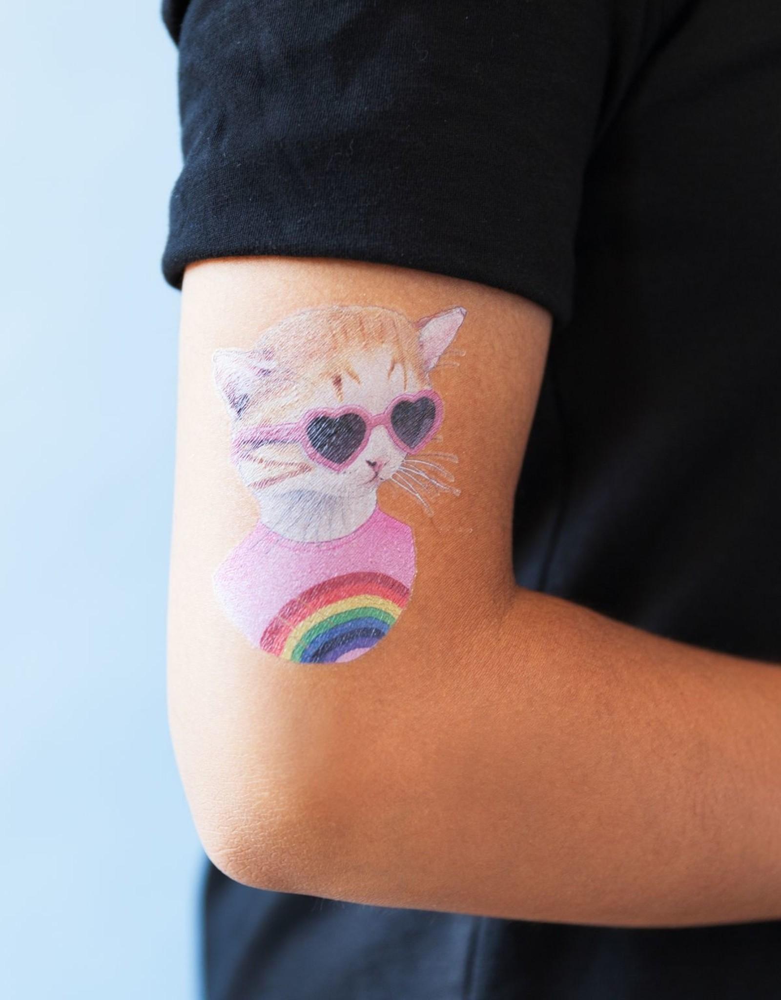 Tattly tattoo pair- rainbow kitten