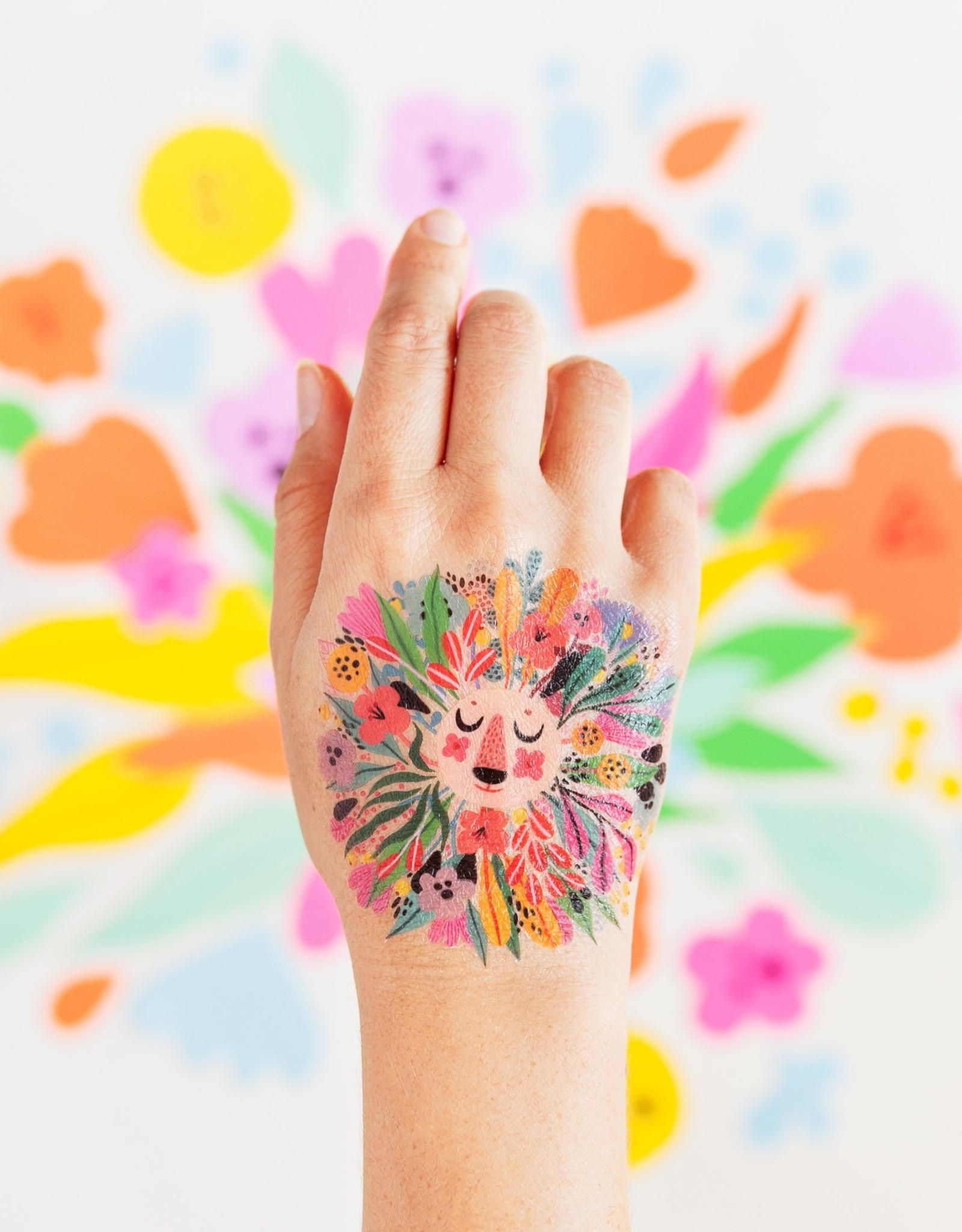 Tattly tattoo pair- floral lion