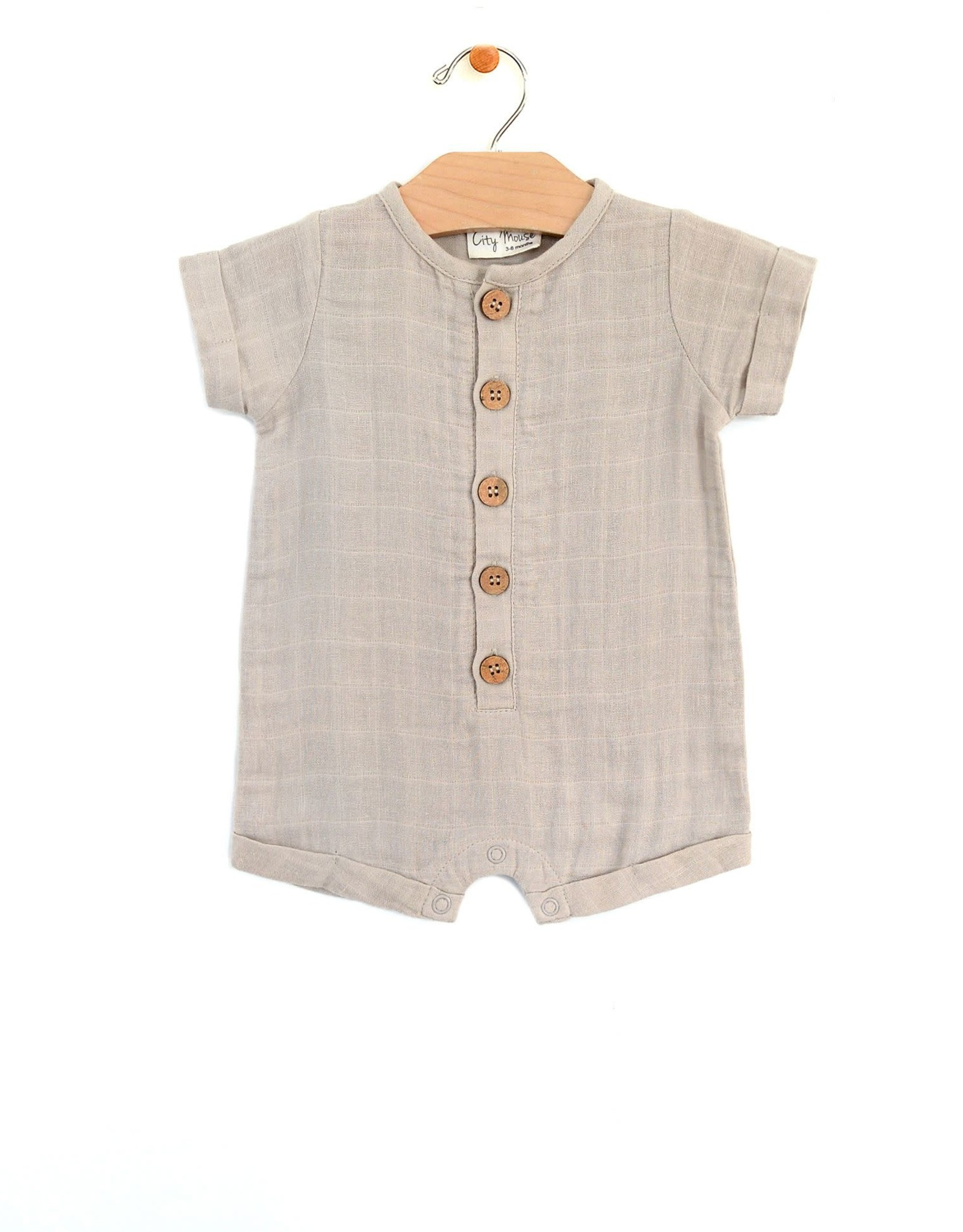 City Mouse shortie romper- rain cloud