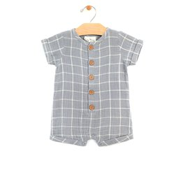 City Mouse shortie romper- windowpane