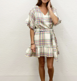 Pink Chicken halsey dress- multi plaid