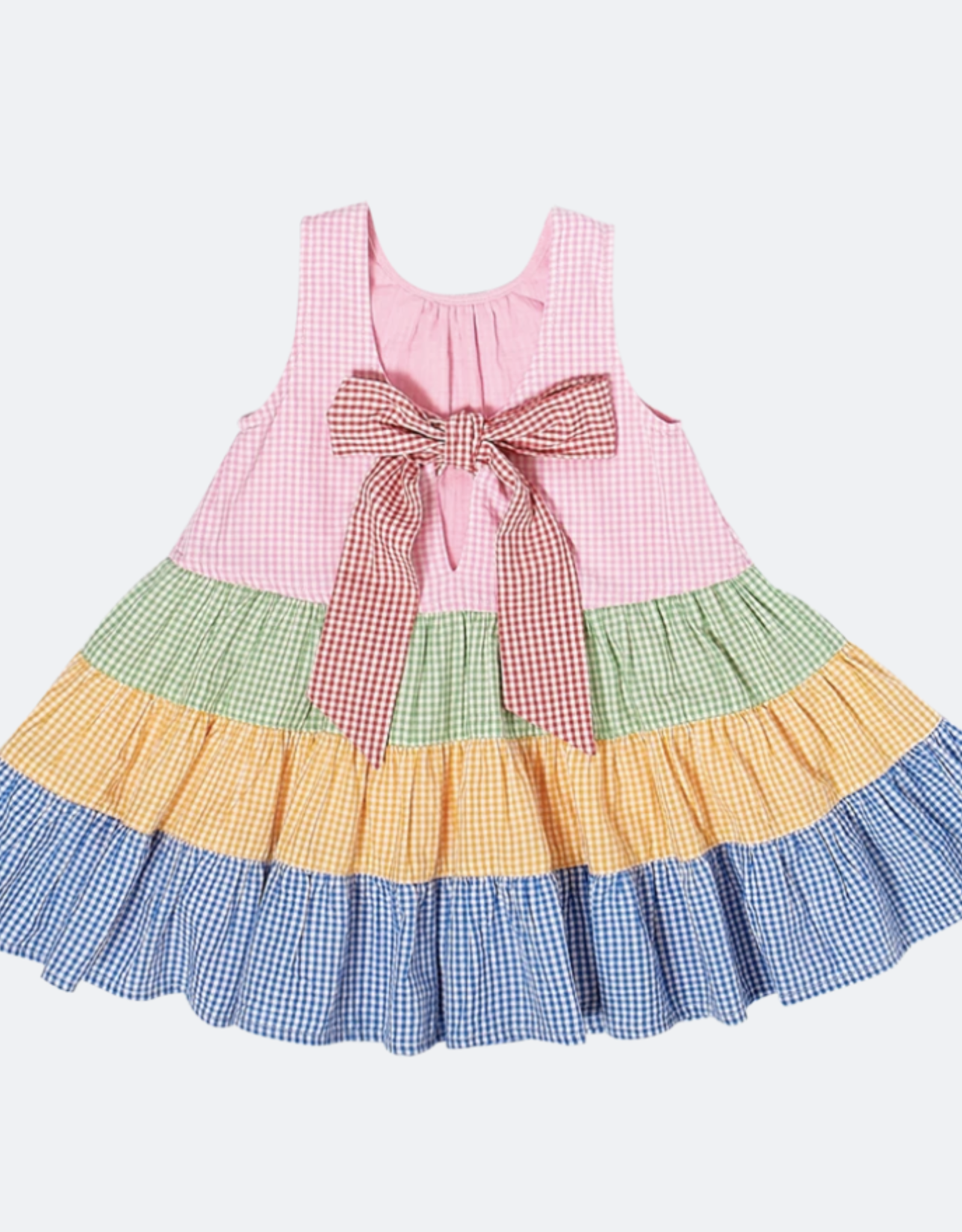 Pink Chicken pearl dress- mixed gingham