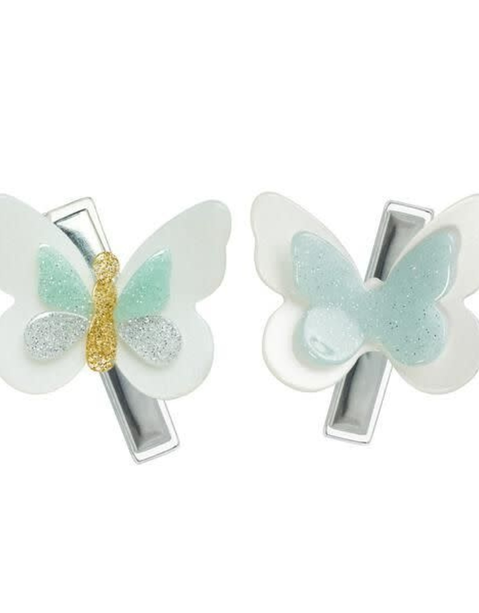 Lilies & Roses butterfly hairclips- mint