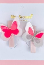 Lilies & Roses butterfly hairclips- pink