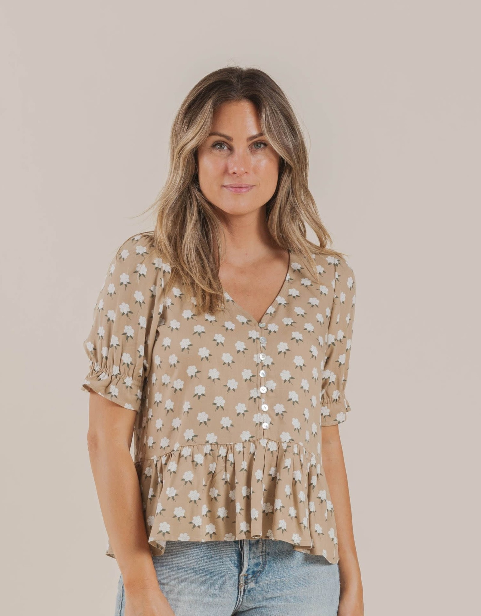 Rylee and Cru white flora maddy blouse