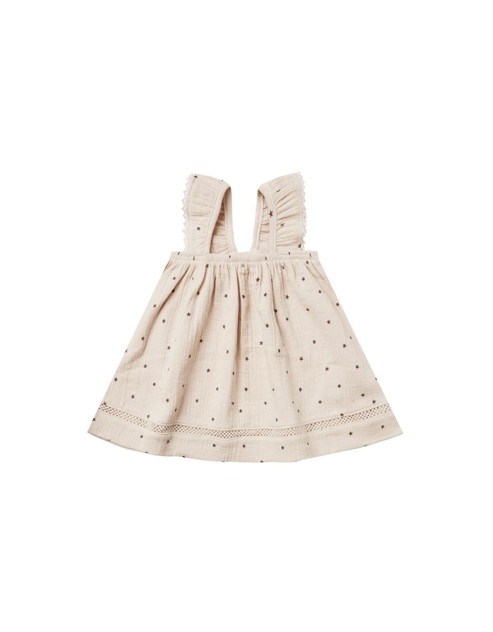Quincy Mae woven ruffle dress- natural