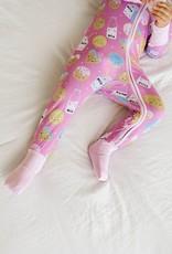 Little Sleepies pink milk and cookies zippy