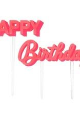 Meri Meri happy birthday acrylic topper- pink