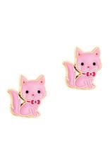 Girl Nation pink kitty studs