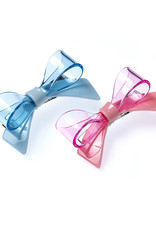Lilies & Roses bow hairclips- blue+pink