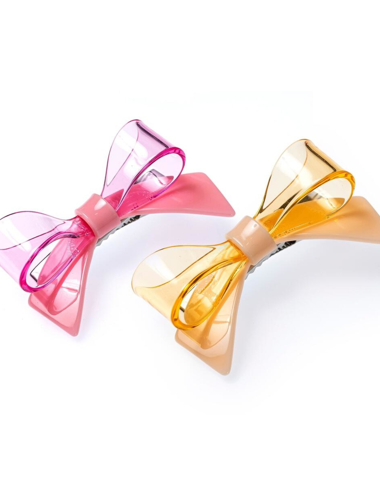 Lilies & Roses bow hairclips- pink+yellow