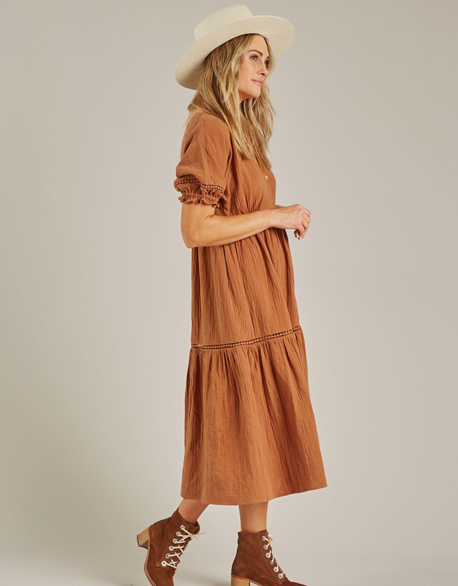 Rylee and Cru mandi dress- rust