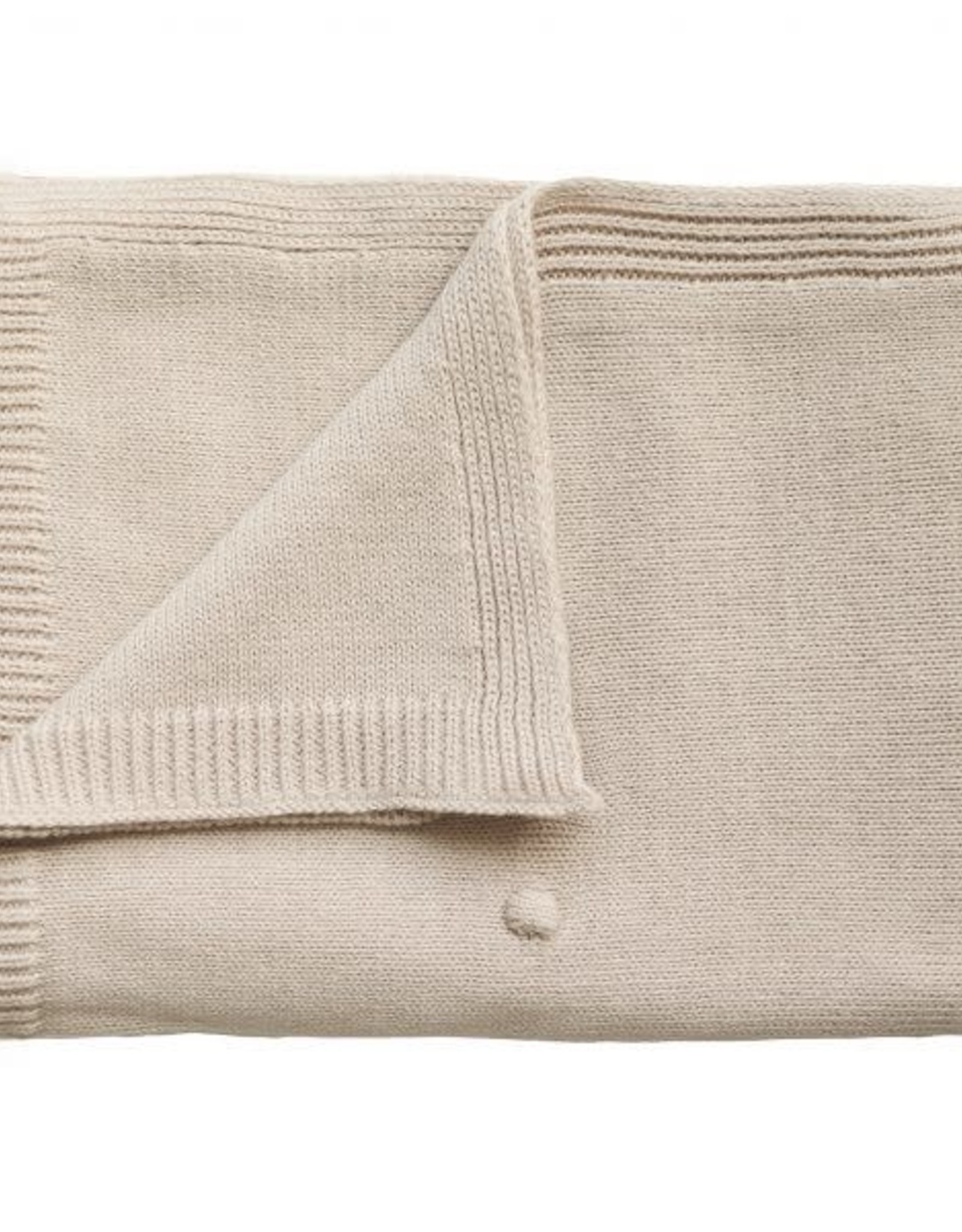 Mushie knitted dots blanket- off white
