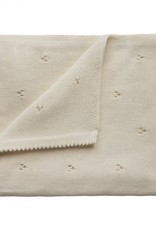 Mushie knitted pointelle blanket- ivory