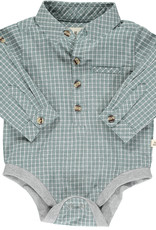 Me & Henry l/s button down onesie- green grid