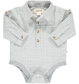 Me & Henry l/s button down onesie- grey grid