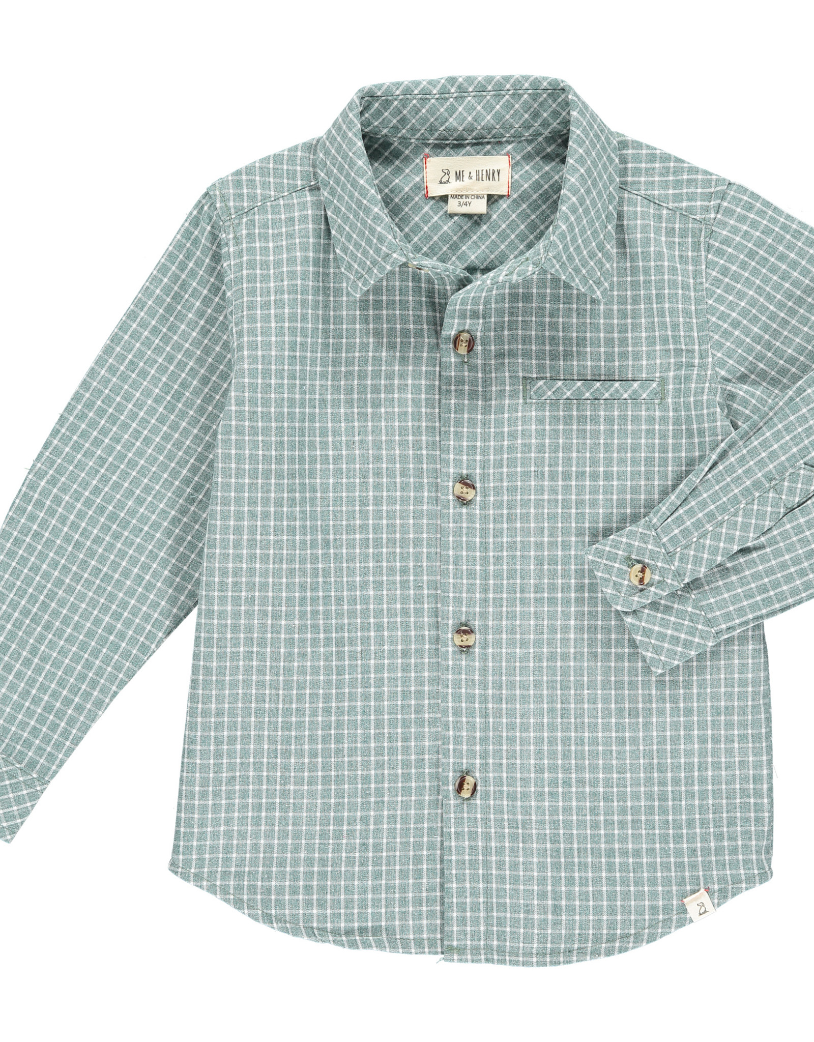 Me & Henry l/s button down- green grid