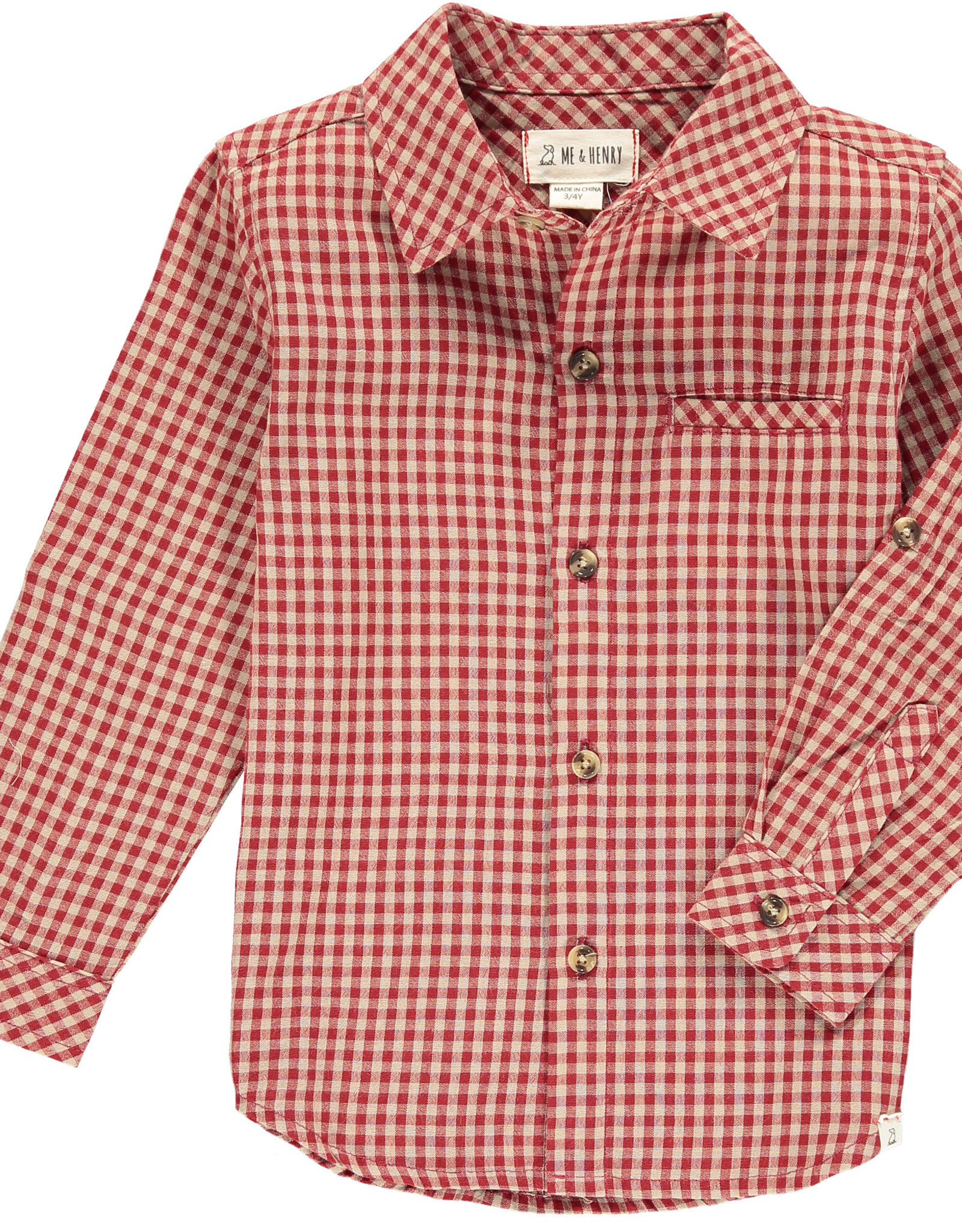 Me & Henry l/s button down- red plaid