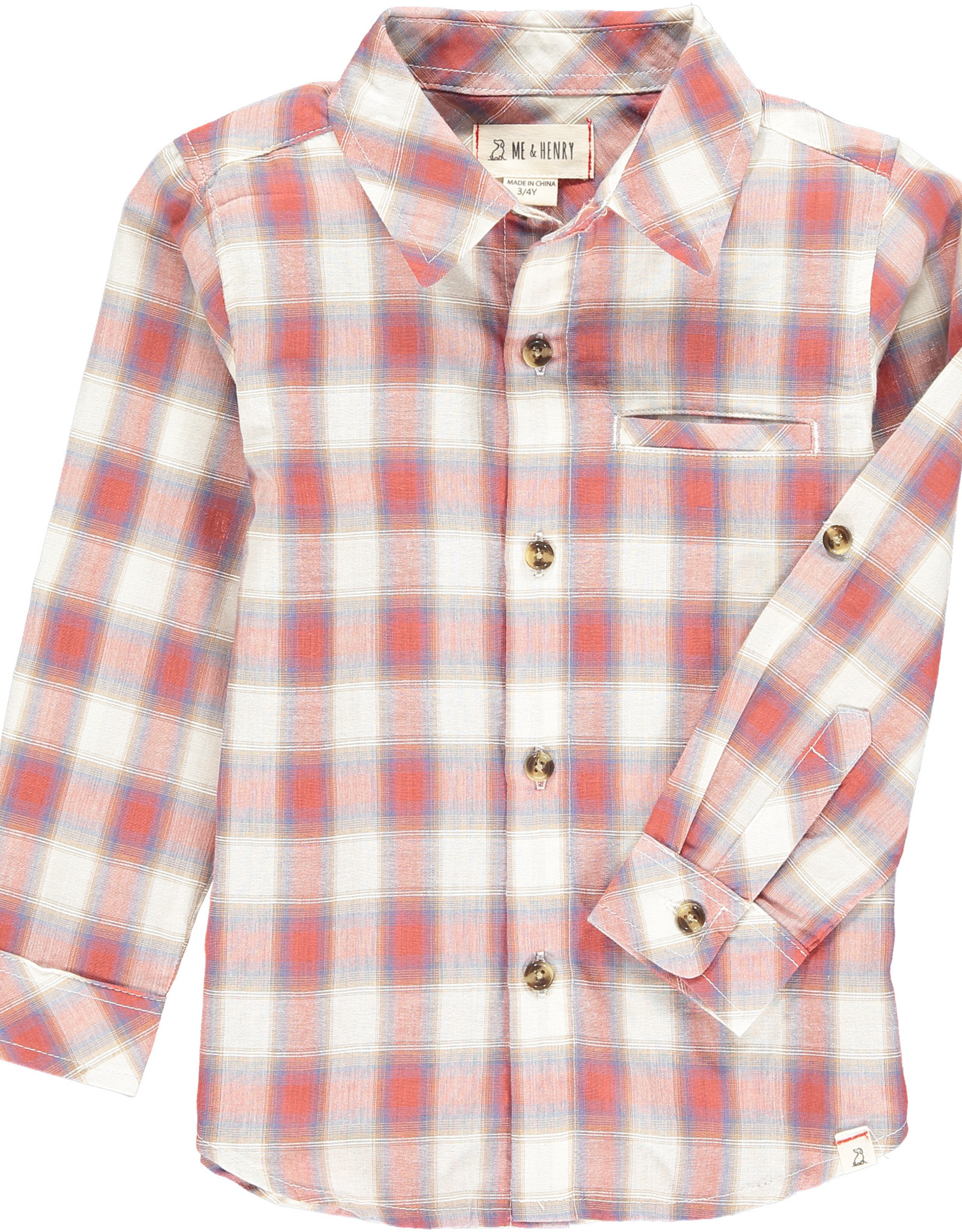 Me & Henry l/s button down- coral/white