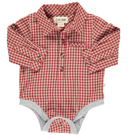 Me & Henry l/s button down onesie- red plaid