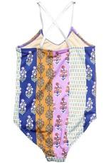 Pink Chicken belle swimsuit- indigo block print