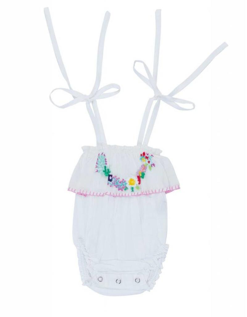 Coco and Ginger peach sunsuit- white