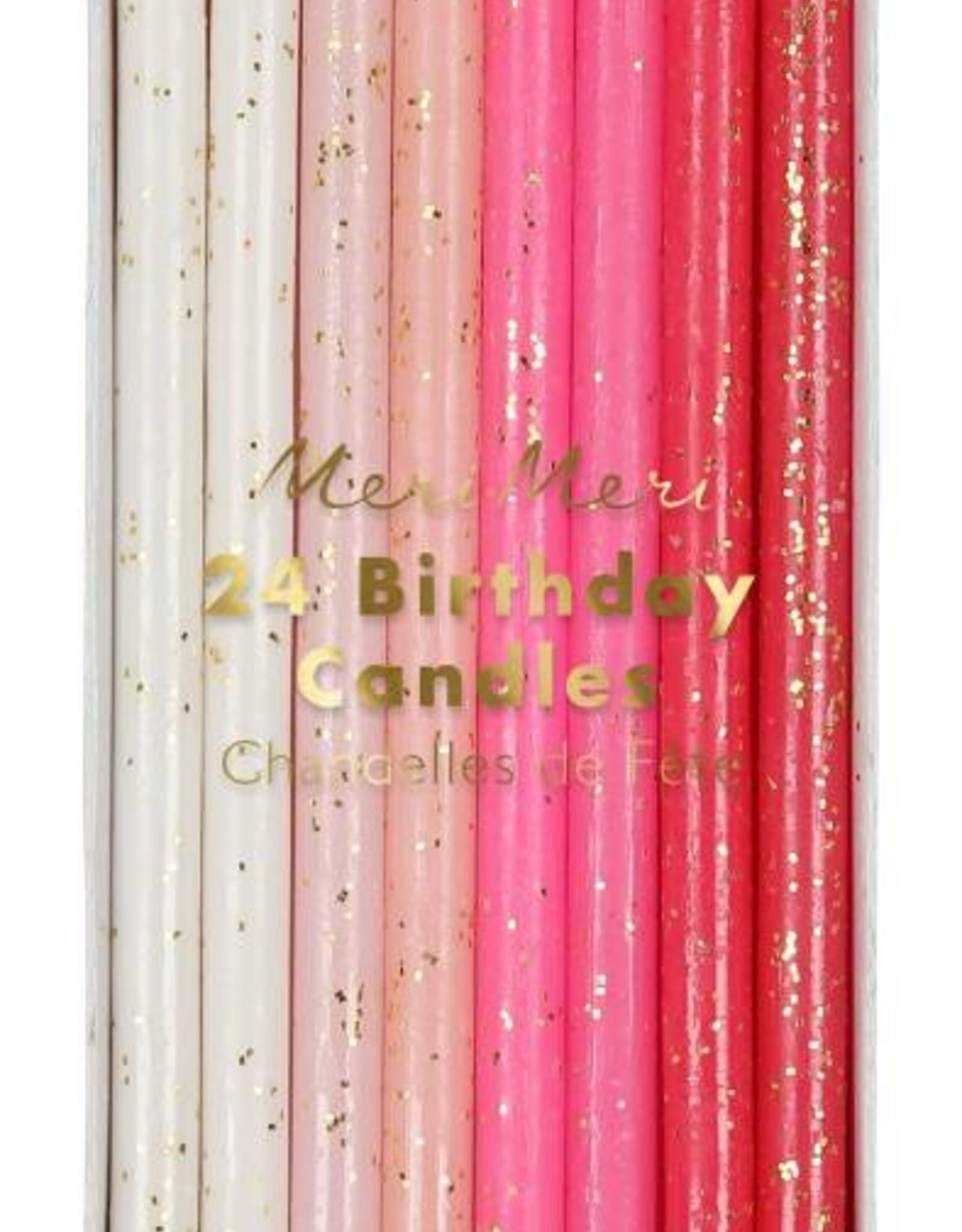 Meri Meri pink flecked birthday candles