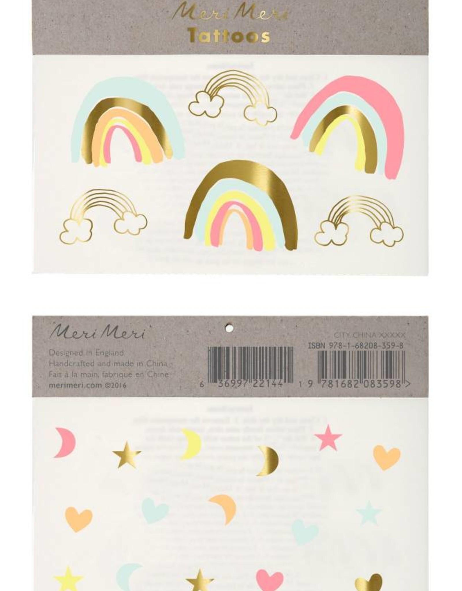 Meri Meri neon rainbows tattoos