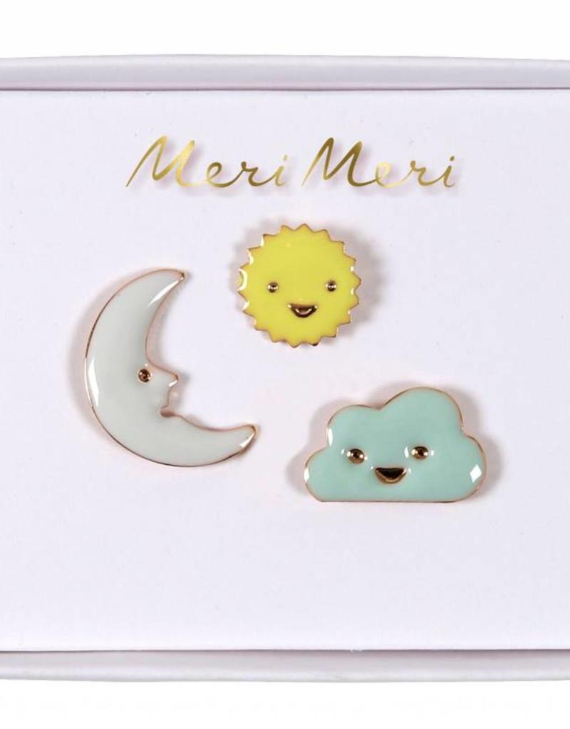 Meri Meri moon, cloud & sun pins