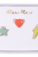 Meri Meri star, heart & lightening pins