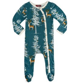Milkbarn footed romper christmas buck