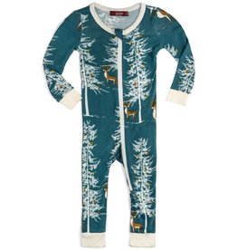 Milkbarn zippered pajamas christmas buck