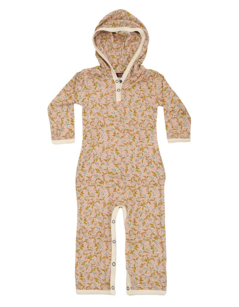Milkbarn hooded romper rose floral