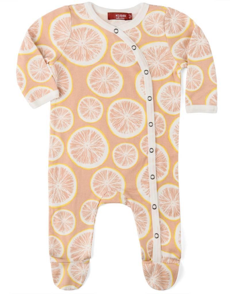 Milkbarn footed romper grapefruits