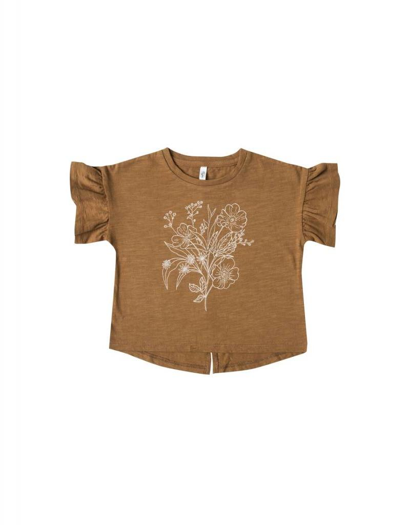Rylee and Cru bouquet flutter tee- saddle