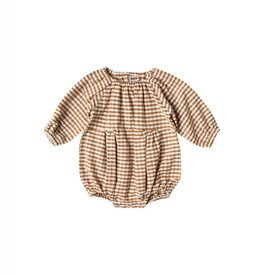 Rylee and Cru baby gingham bubble romper- saddle