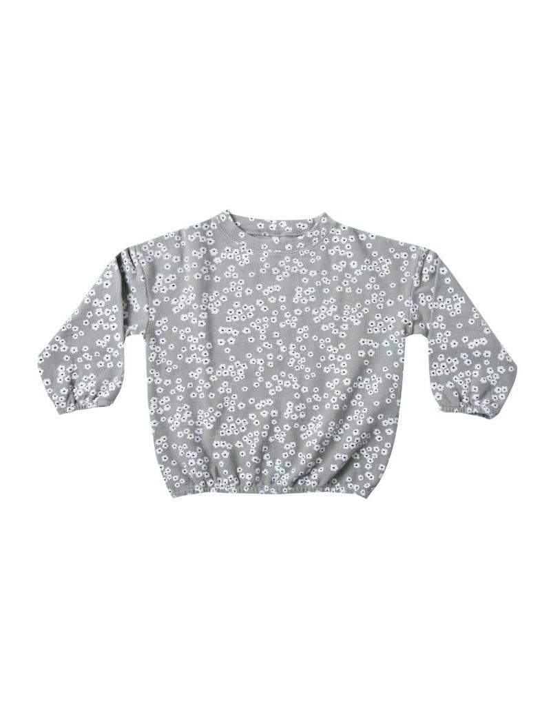 Rylee and Cru flower field slouchy pullover- washed denim
