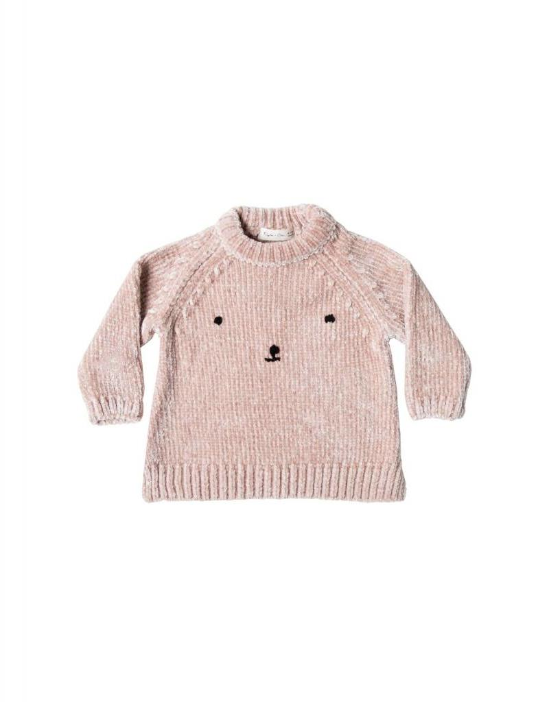 Rylee and Cru baby bear face chenille sweater- petal