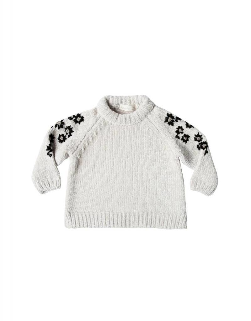 Rylee and Cru baby floral embroidered chenille sweater- ivory