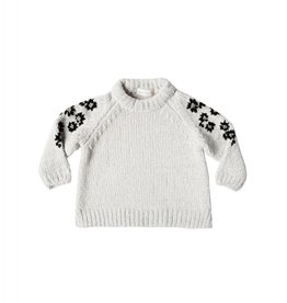 Rylee and Cru floral embroidered chenille sweater- ivory