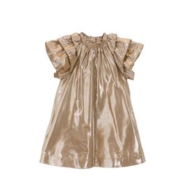 Velveteen ruby- frill sleeve gold dress