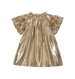 Velveteen opal- frill sleeve gold dress