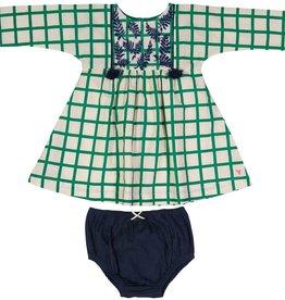 Pink Chicken bette dress set- green check
