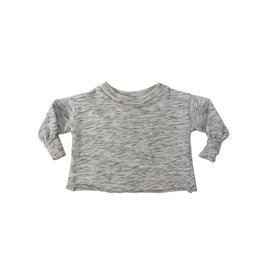 Go Gently Nation puff sleeve sweatshirt- salt & pepper