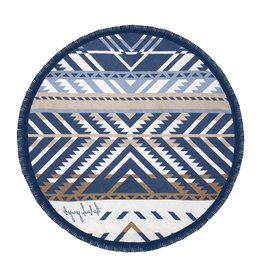 The Beach People Drk Blue/White/Brown Round Towel