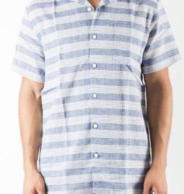 Onia Deep Navy Multi Chambray Stripe Vacation Shirt