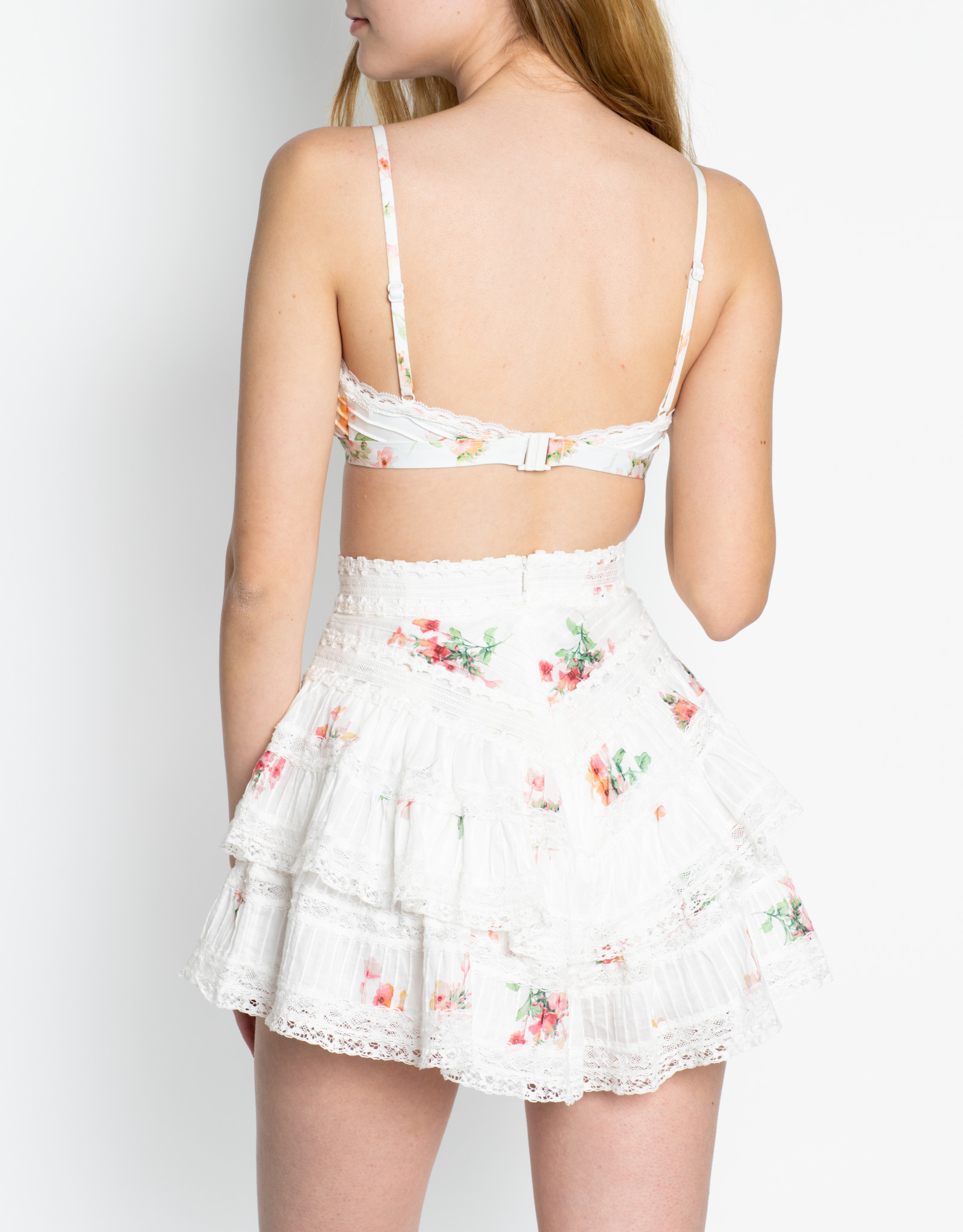 Zimmermann Floating Bouquete Heathers Pintuck Frill Shorts
