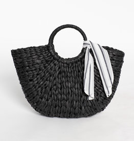 Hat Attack Black Olivia Round Handle With Scarf Bag