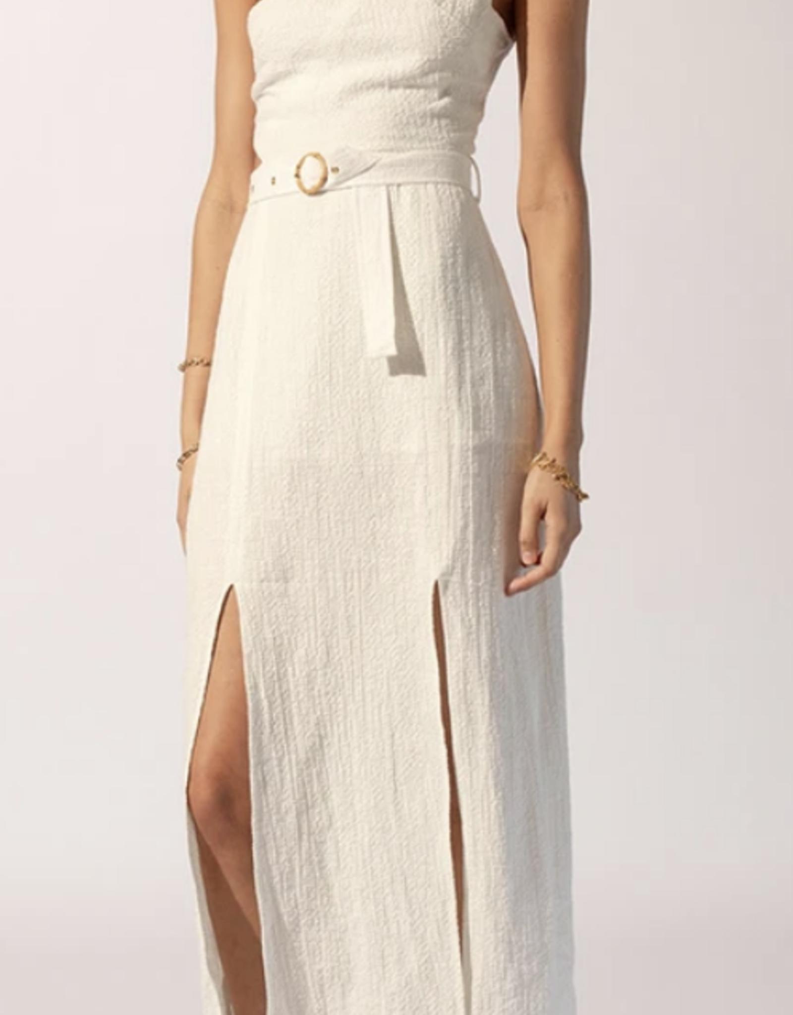 Suboo White Kaia Bamboo Ring Asymmetrical Dress
