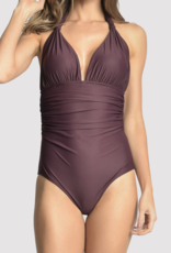 Lenny Niemeyer Eggplant Adjustable Halter Maillot One Piece